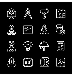 Set line icons of engineering vector image