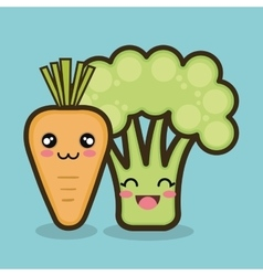 vegetables cartoon carrot and broccoli graphic vector image