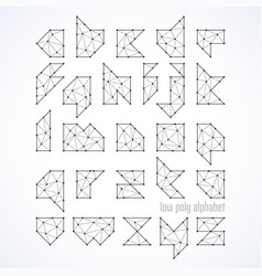 low poly font alphabet vector image vector image