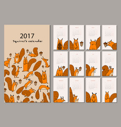 squirrel calendar 2017 design vector image vector image