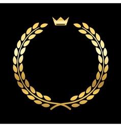 Gold laurel wreath crown leaf vector image