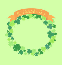 st patrick day greeting card clover wreath vector image vector image