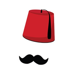Turkish hat and mustache vector image vector image