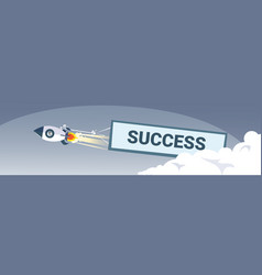 Flying space ship rocket with success banner new vector