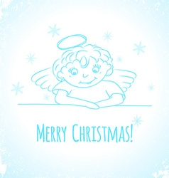 Hand drawn little angel with flowers vector image vector image