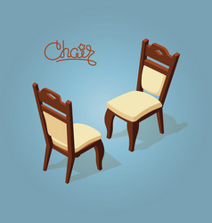 Isometric cartoon chair icon isolated on blue vector