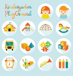 Kindergarten Preschool Objects Icons Set vector image vector image