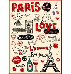 Paris love doodles vector image
