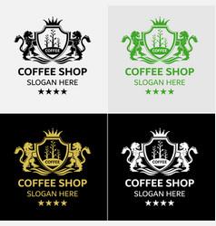 royal coffee logo template vector image vector image
