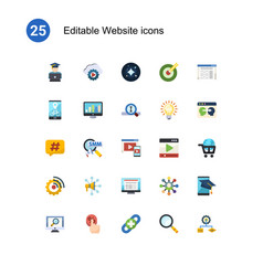 25 website flat icons set isolated on icons set vector