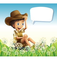 A boy wearing a hat sitting with an empty callout vector image