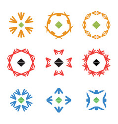 abstract arrow color icon logos set vector image