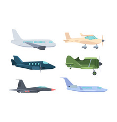 Airplanes set modern passenger liners retro vector