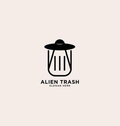 Alien trash simple line logo template icon vector