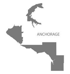 anchorage alaska city map grey silhouette shape vector image