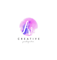 Av watercolor letter logo design with purple vector