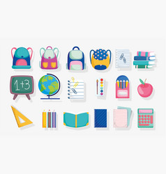 Back to school stationery supplies accessories vector