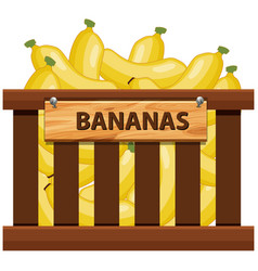 Banana in wooden crate vector