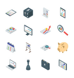 Banking and finance isometric icons vector