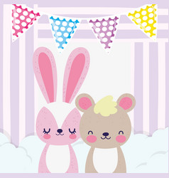 Bashower love cute rabbit and bear in clouds vector