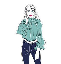 beautiful young woman in trousers sketch vector image