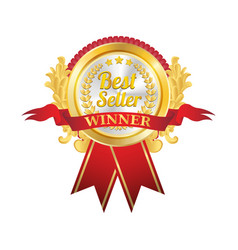 best seller golden badge vector image