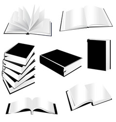 book silhouette icon set vector image