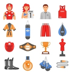 Boxing Ammunition Flat Color Icons Set vector