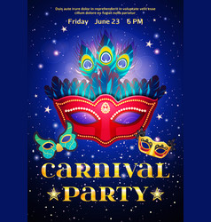 carnival party poster with date of event vector image
