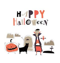 Cartoon cute halloween monsters on white vector