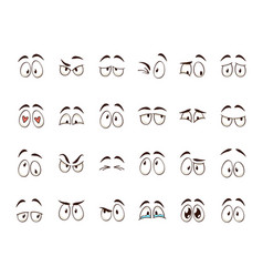 cartoon eyes comic character eye expressions vector image