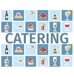 catering drinks and dishes word concept banner vector image