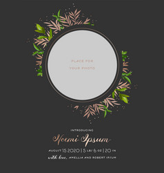 Child greeting card floral elements bashower vector
