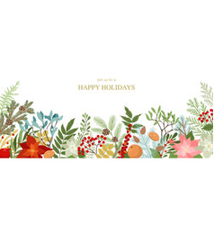 christmas border with winter plants and floral vector image