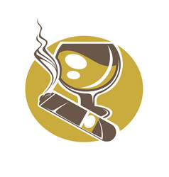 Cigar and glass for wine or whisky logotype vector