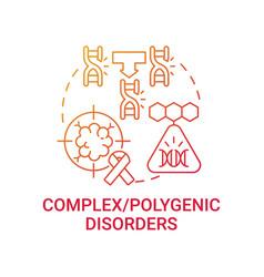 Complex polygenic disorders red gradient concept vector