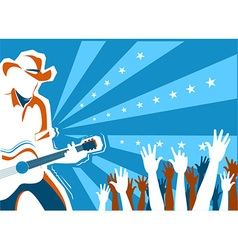 Country music concert with singer and guitar vector image