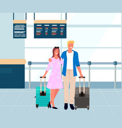 couple travelers in airport man and woman vector image