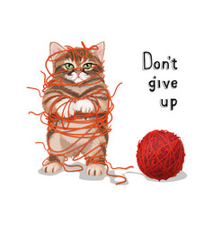 cute cat entangled in threads vector image