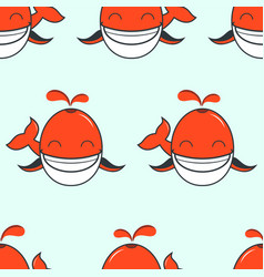 cute smiling whale seamless backgorund vector image