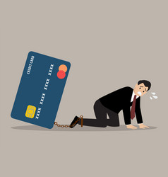 desperate businessman with credit card burden vector image