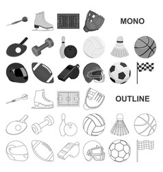 Different kinds of sports monochrom icons in set vector