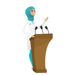doctor giving a speech from tribune vector image