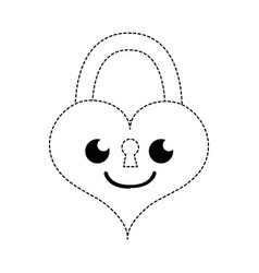 Dotted shape smile heart padlock kawaii personage vector