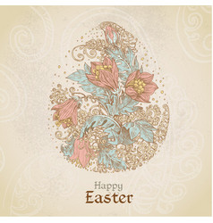 easter vintage color background with egg from vector image