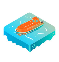 emergency life boat on the ocean isometric vector image