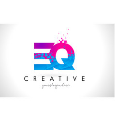 eq e q letter logo with shattered broken blue vector image