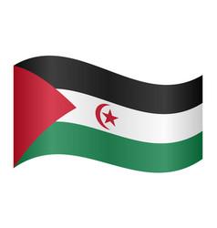 flag of western sahara waving on white background vector image