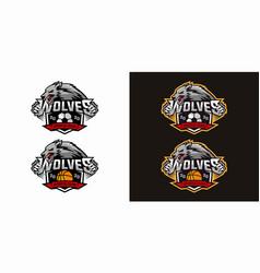 football basketball wolf team logo design vector image