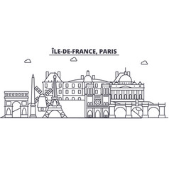 France paris architecture line skyline vector